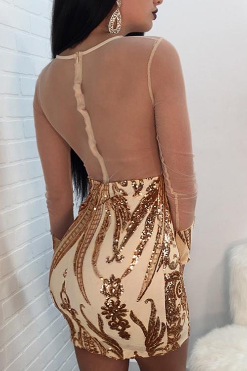 Симпатичная Сексуальная Круглая Шея Прозрачная Блестки Украшение Чистая Пряжа Сплайсинг Золото Полиэстер Мини Платье