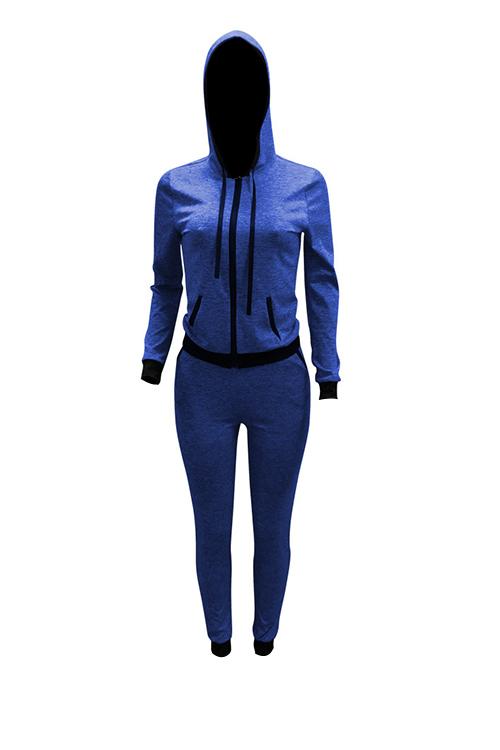 Precioso Diseño De Cremallera De Cuello Con Capucha Casual Azul De Punto Pantalones De Dos Piezas Conjunto