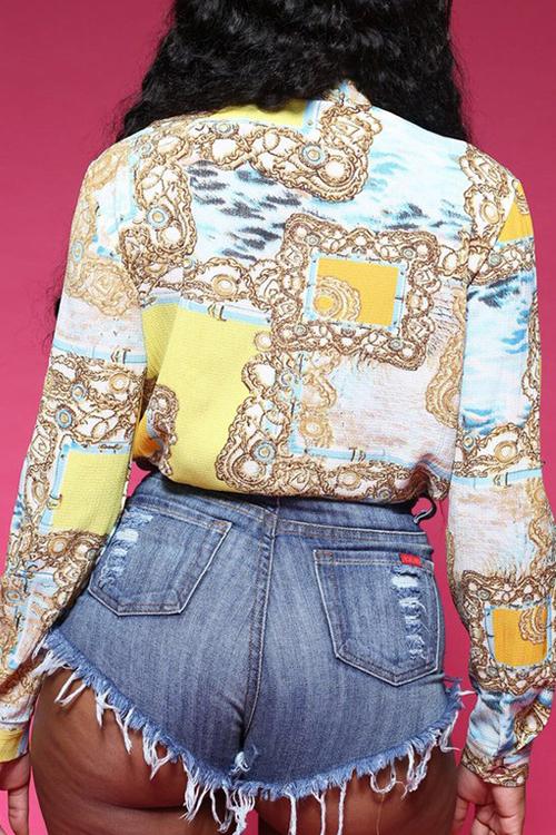Adorável Joalheria De Lazer Colar Mangas Compridas Camisas Impressas De Poliéster
