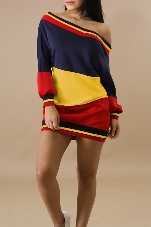 Lovely Euramerican Bateau Neck Contrast Color Patchwork Ribbed Yellow Polyester Mini Dress