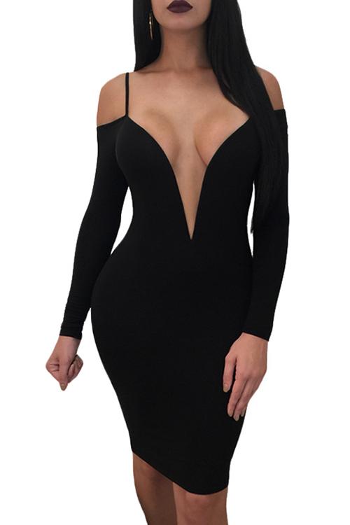 Vestido De Longitud De La Rodilla De Fibra De Leche Negro Hombro Profundo Sexy Cuello Profundo Rocío