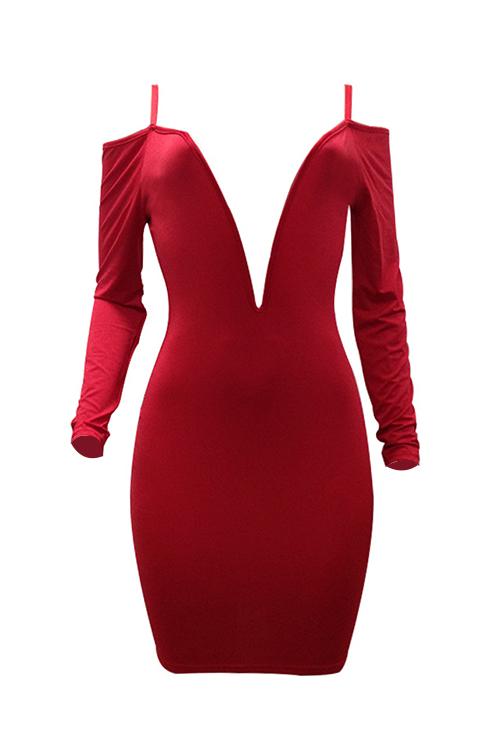 Милые Сексуальные Глубокие V Шеи Роса Плечо Красное Молоко Волокна Колено Длина Платье