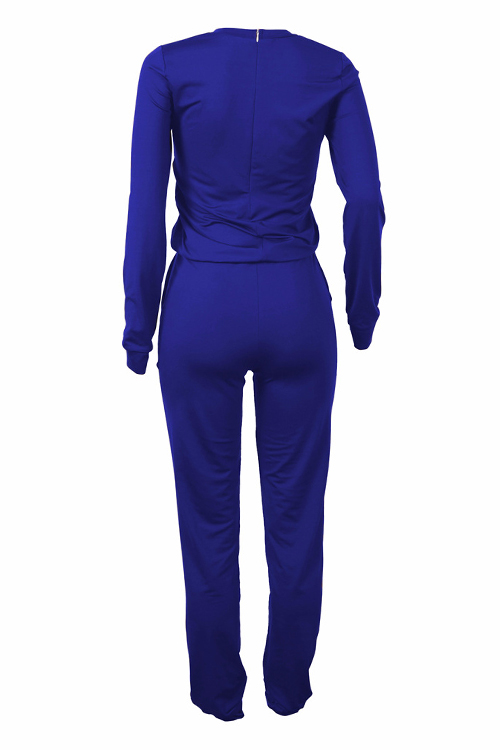 Lovely Leisure Round Neck Letters Printed Blue Cotton Blends One-piece Jumpsuits
