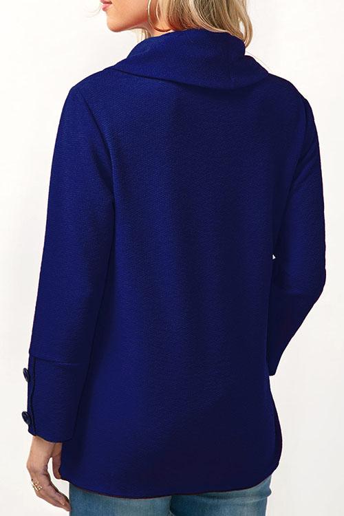 Lovely Fashion Turndown Collar Irregular Patchwork Button Decorative Blue Cotton Shirts