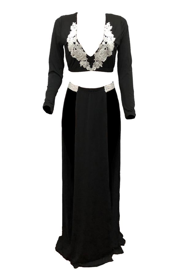 Lovely Sexy V Neck Lace Applique Black Qmilch Two-piece Skirt Set