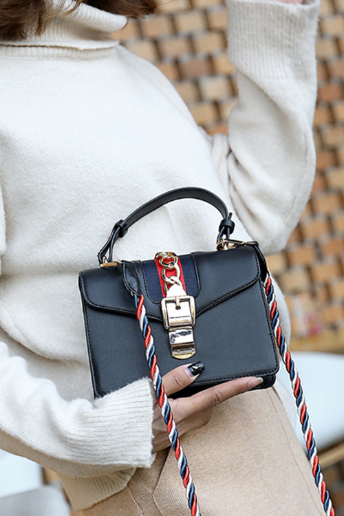 Lovely Fashion Chain Decorative Hasp Design Black PU Crossbody Bag