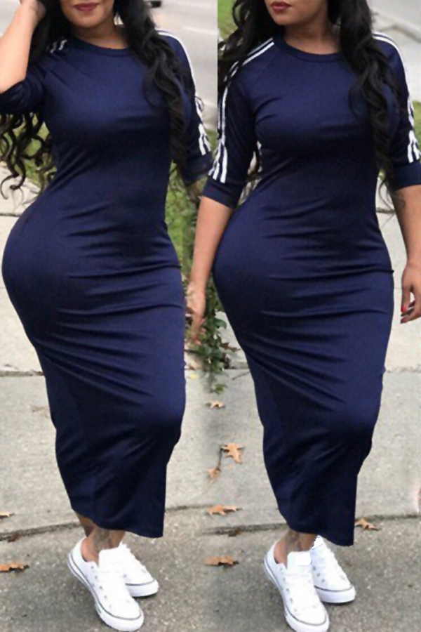 Lovely Sexy Round Neck Striped Dark Blue Polyester Sheath Mid Calf Dress Dresses <br><br>