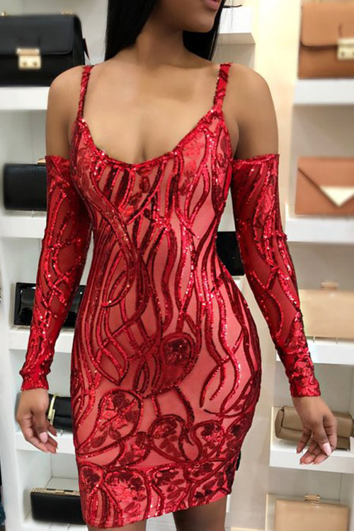 Lovely Sexy Dew Shoulder Sequins Decoration Red Polyester Sheath Knee Length Dress Dresses <br><br>
