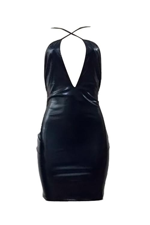 Reizendes Reizvolles Gekreuztes Isolationsschlauchbügel Ärmelloses Kastenhöhlen-heraus Schwarzes PU-Minibodycon Kleid