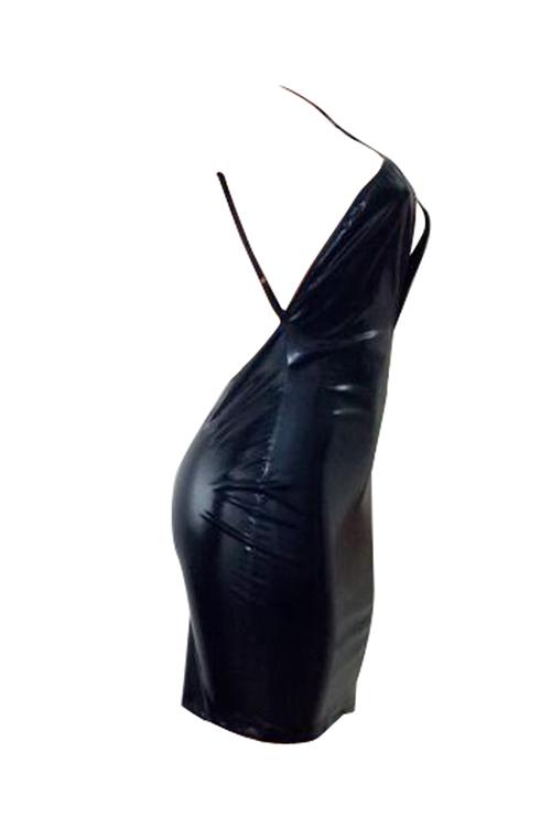 Симпатичный Сексуальный Скрещенный Спагетти Ремень Без Рукавов Грудь Выдолбленный Черный PU Мини Bodycon Платье