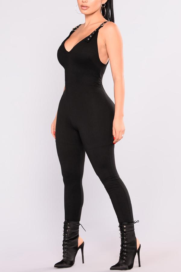 Lovely Fashion V Neck Backless Black Polyester One-piece Jumpsuits