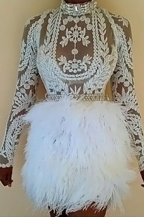 Schöne Sexy Mandarin Kragen Feder Dekoration Stickerei Design Weiß Polyester Zweiteiligen Rock Set (ohne Gürtel)