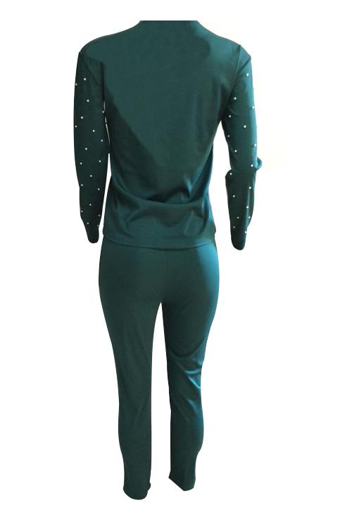 Encantador Ocasional Cuello Redondo Dorado Letras Perla Recortar Pantalones De Dos Piezas De Algodón Verde