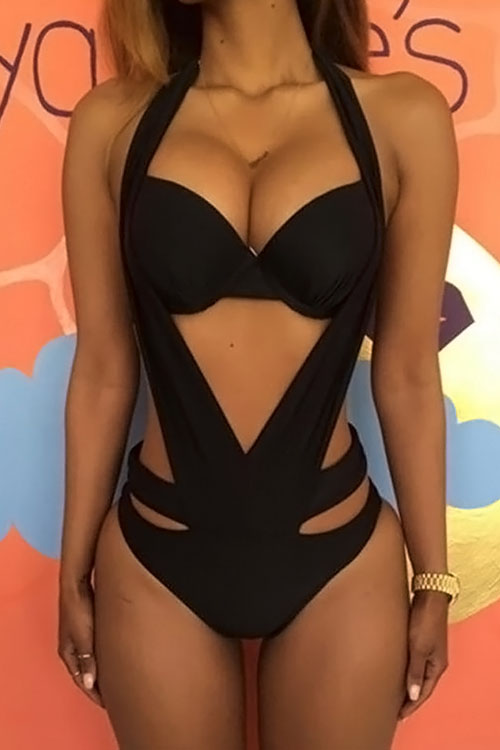 Lovely Sexy Lace-up Hollow-out Black Polyester One-piece Swimwears