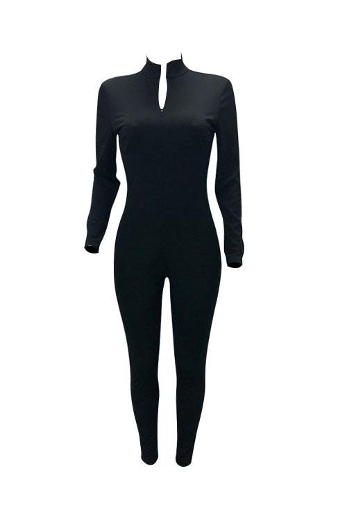 Lovely Trendy V Neck Zipper Design Black Polyester One-piece Jumpsuits
