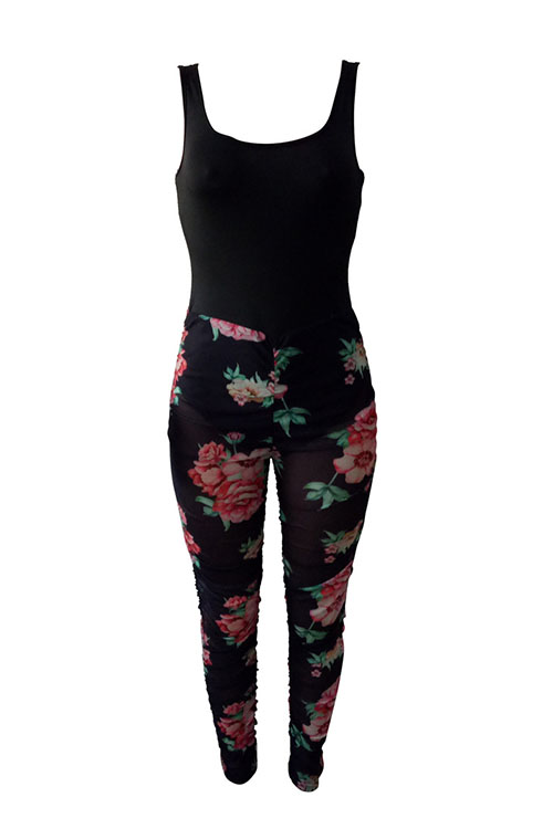 Lovely Sexy Square Neck Floral Printed See-Through Black Polyester One-piece Jumpsuits(Non Positioning Printing)