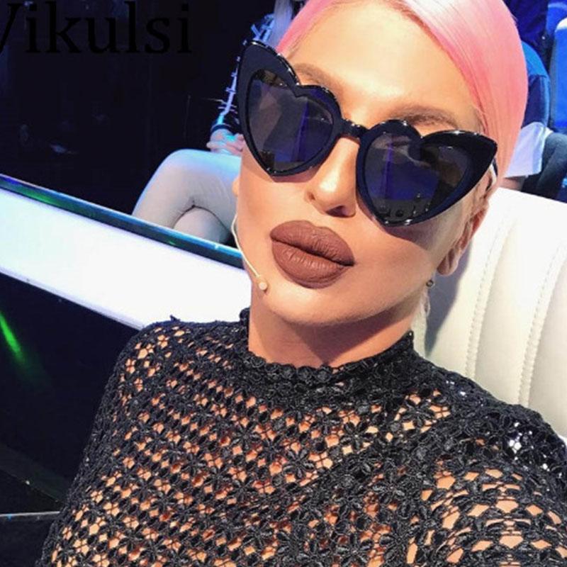 Linda Moda Em Forma De Coração Em Moldura De Design Preto Óculos De Sol Para PC