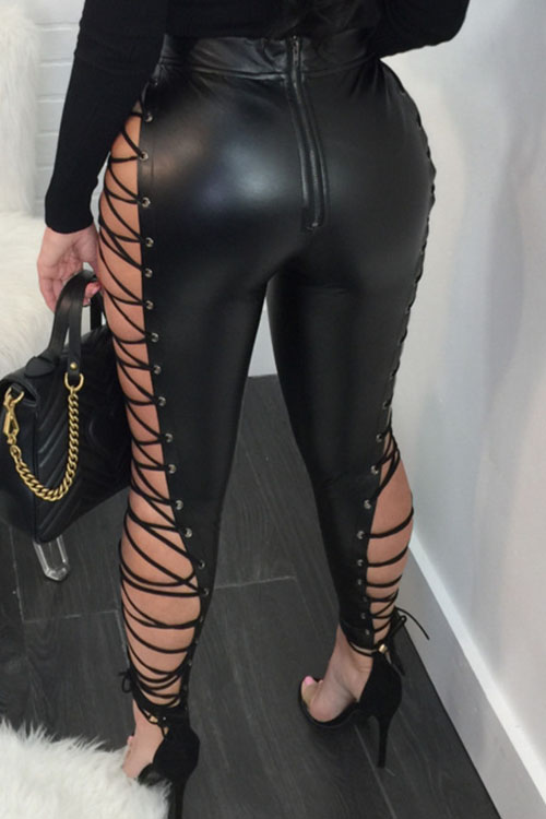 Moda Linda Cintura Elástica Cintura De Calças De Couro Preto