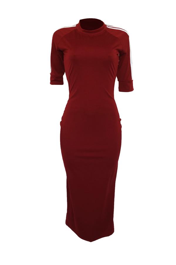 Encantador Sexy Cuello Redondo A Rayas Vino Rojo Poliéster Vaina Mediados De Vestido De Ternera
