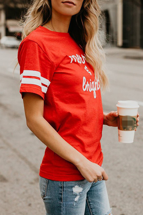 Lovely Casual Round Neck Short Sleeves Letters Printed Red Cotton Blends T-shirt