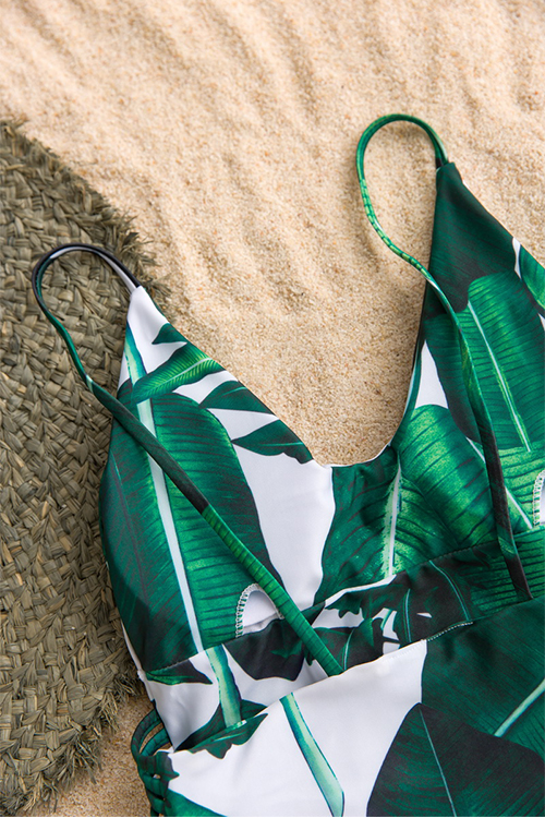 Lovely Fashion Hollow-out Leafs Printed Green Polyester One-piece Swimwears