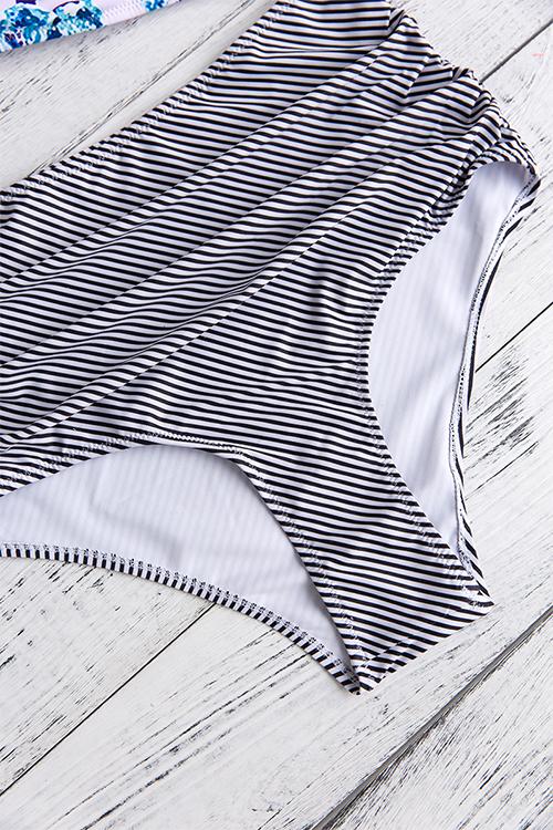 Precioso Sexy Impreso Poliéster Blanco De Dos Piezas Trajes De Baño
