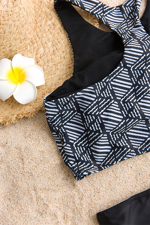 Lovely Sexy Geometric Printed Black Polyester Two-piece Swimwears