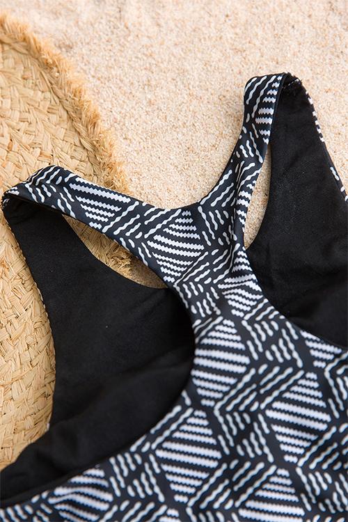 Bei Costumi Da Bagno A Due Pezzi In Poliestere Nero Stampato Geometrico Sexy
