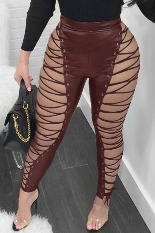 Lovely Fashion High Elastic Waist Lace Up Hollow Out Wine