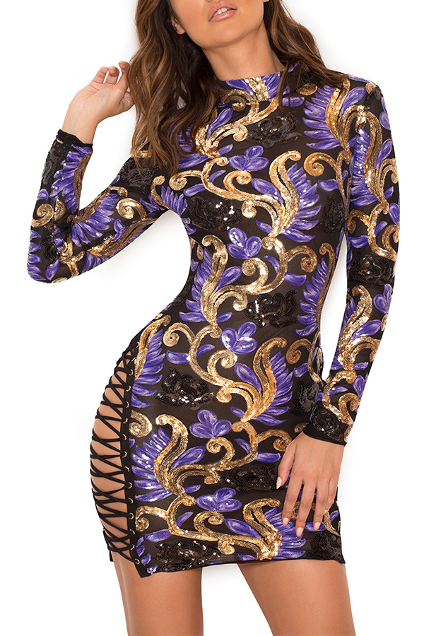 Lovely Sexy Round Neck Lace-up Sequins Decoration Purple Polyester Sheath Mini Dress Dresses <br><br>