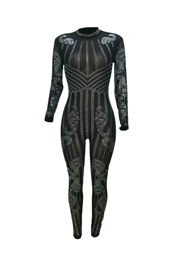Lovely Sexy Round Neck See-Through Hot Drilling  Black  One-piece Jumpsuits(Without Lining)