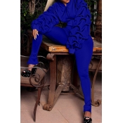 Lovely Euramerican Hooded Collar Puff Sleeves Blue Polyester Two-piece Pants Set