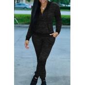 Precioso Diseño De Cremallera De Cuello Con Capucha Casual Negro De Punto Pantalones De Dos Piezas Conjunto