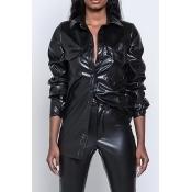 Lovely Fashion Turndown Collar Long Sleeves Single