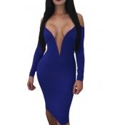 Lovely Sexy Deep V Neck Dew Shoulder Blue Milk Fiber Knee Length Dress