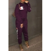 Lovely Leisure Round Neck Letters Printed Deep Purple Cotton Blends One-piece Jumpsuits