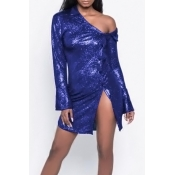 Lovely Sexy Sloping Shoulder Pearl Printing Single Breasted Blue Polyester Sheath Mini Dress