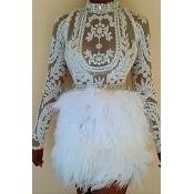 Precioso Diseño De Bordado De Plumas De Cuello Mandarín Atractivo Diseño Conjunto De Faldas De Dos Piezas De Poliéster Blanco (sin Cinturón)