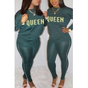 LovelyCasual Round Neck Gilt Letters Pearl Trim Green Cotton Two-Piece Pants Set