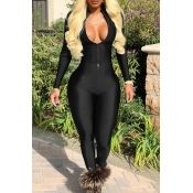 Lovely Trendy V Neck Zipper Design Black Polyester One-piece Jumpsuits