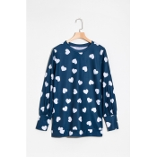 Lovely Fashion Round Neck Heart-shaped Printed Dar