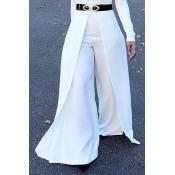 Lovely Trendy Elastic High Waist White Polyester P