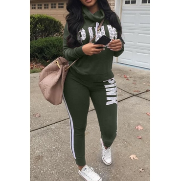 Lovely Casual Heaps Collar Striped Letters Printed Army Green Qmilch Two-Piece Pants Set
