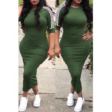 Encantador Sexy Cuello Redondo A Rayas Ejército Verde Poliéster Vaina Mediados De Vestido De Ternera
