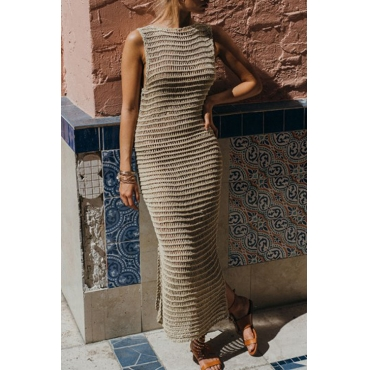 Lovely Casual Round Neck Hollow-out Khaki Knitting Ankle Length Dress