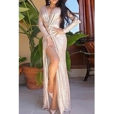 Lovely Sexy V Neck Sequins Decoration Knot Design Side Slit Rose Gold Polyester Maxi Dress