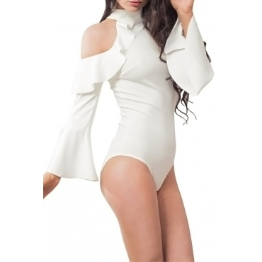 Lovely Chic Dew Shoulder Trumpet Sleeves Falbala Design White Polyester One-piece Bodysuits