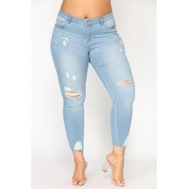 Moda Encantadora Cintura Alta Agujeros Rotos Mezclilla Azul Jeans Con Cremallera