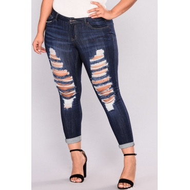 Lovely Fashion High Waist Broken Holes Deep Blue Denim Zipped Jeans