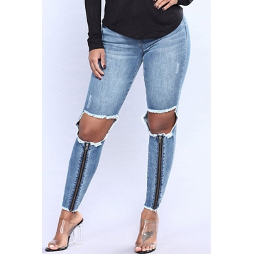 Lovely Fashionable Mid Waist Broken Holes Zipper Design Blue Denim Jeans